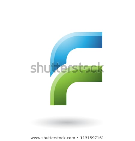 Green and Blue Letter F with Round Corners Vector Illustration Stock photo © cidepix