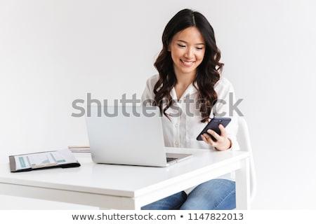 impiegato · lavoro · eccitato · ufficio · signora - foto d'archivio © deandrobot