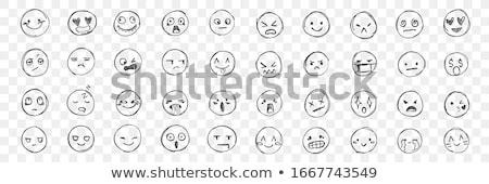 graffiti crying emoji in black on white Stock photo © Melvin07