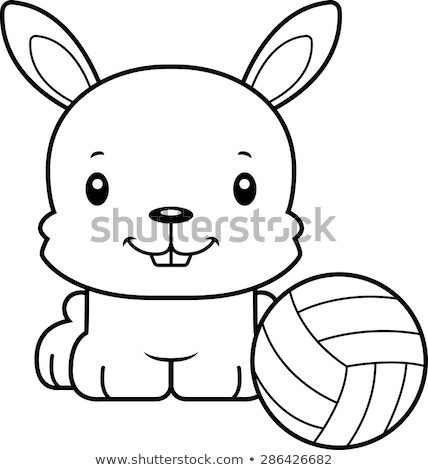 Desenho animado sorridente voleibol jogador coelho Foto stock © cthoman