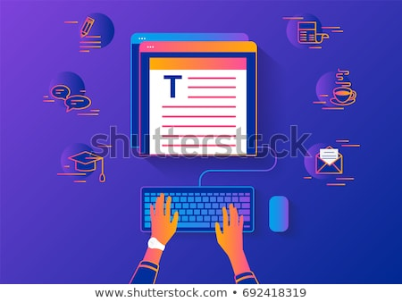 woman typing on laptop sitting at table vector stock photo © robuart