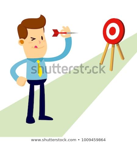 Desenho animado homem dardo ilustração engraçado Foto stock © bennerdesign