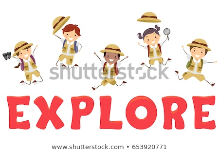 Stickman Kids Explore Lettering Illustration Stock photo © lenm