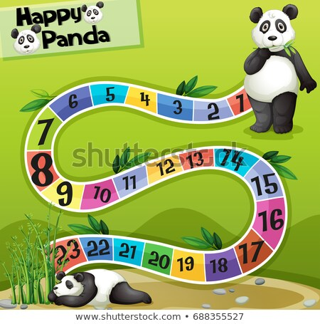 Boardgame template with two pandas in park Stock photo © colematt