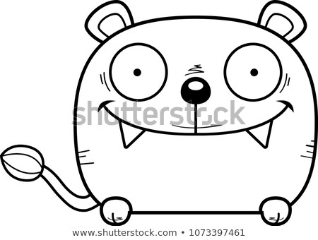 Cartoon welp illustratie meisje baby leeuw Stockfoto © cthoman