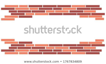 parede · de · tijolos · quadro · moldura · de · madeira · quadro · textura · projeto - foto stock © kup1984
