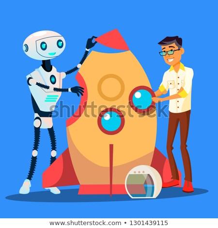 Człowiek robot budynku rakietowe wraz wektora Zdjęcia stock © pikepicture