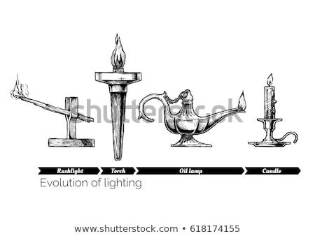 Croquis lampe de poche isolé blanche vecteur main Photo stock © Arkadivna