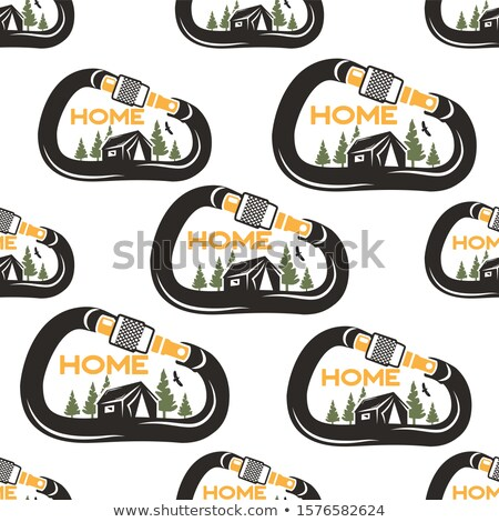 Camping pattern design with carabiner, tent, eagle and forest. Nature my Home concept seamless backg Stock photo © JeksonGraphics