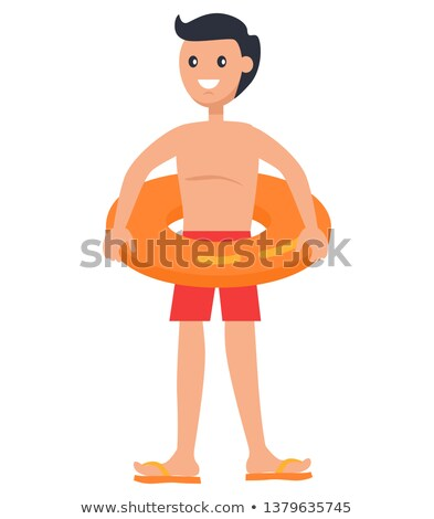 Standing Boy in Lifebuoy Isolated Vector Icon Stock photo © robuart