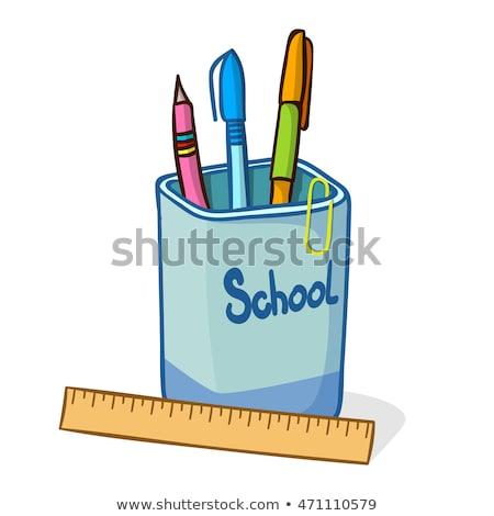 Cartoon crayon illustration tasse crayons stylo Photo stock © bennerdesign