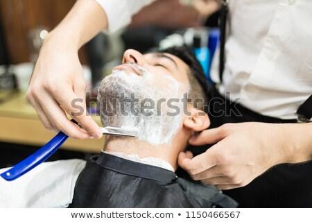 Profi fodrász borotva közelkép férfi férfi Stock fotó © Kzenon