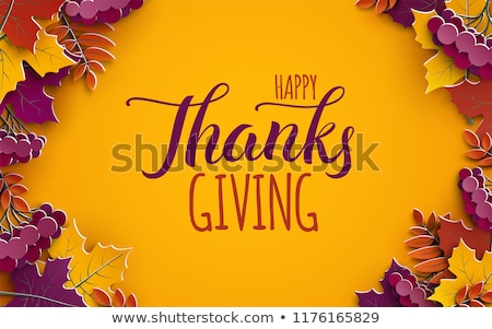 Thanksgiving holiday banner with congratulation text. Autumn tree leaves on chalkboard background. A Stock photo © ikopylov
