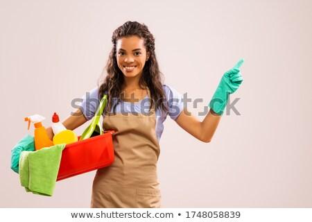 женщину · Постоянный · вход · улыбающаяся · женщина · улыбка - Сток-фото © andreypopov