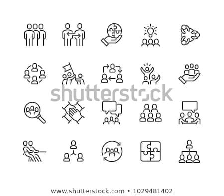 набор · иконки · успешный · команда · человека · зеленый - Сток-фото © robuart