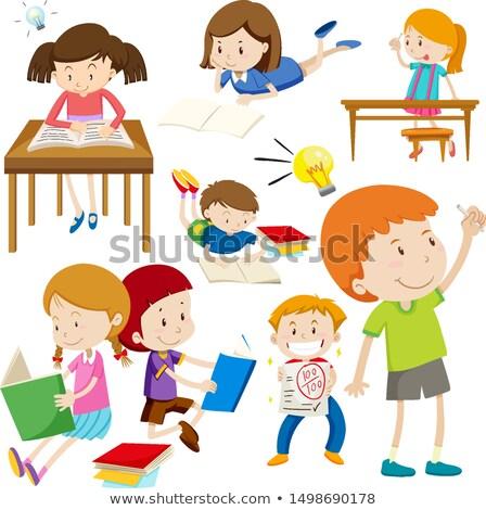 Muchos ninos cara feliz diferente cosas ilustración Foto stock © bluering