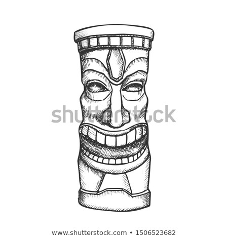 Tiki Idol Carved Wooden Laughing Totem Ink Vector Stock photo © pikepicture
