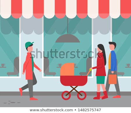 restaurant exterior city street with passers by stock photo © robuart