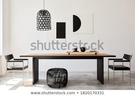 Sala de jantar moderno mobiliário mesa de madeira azul couro Foto stock © magraphics