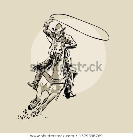 Schets cowboy icon kleur bril Stockfoto © netkov1