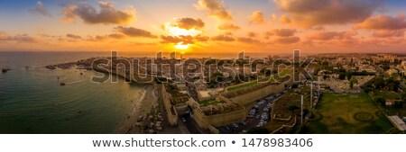Oude stad zonsondergang Israël zee haven Stockfoto © dariazu