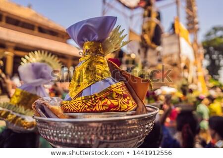 Royal cremation ceremony prepation. Balinese hindus religion procession. Bade and Lembu Black Bull s Stock photo © galitskaya