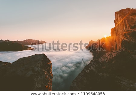 Aerial Beautiful Nature Norway over the clouds. Stock photo © cookelma