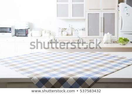 Zdjęcia stock: Stół · kuchenny · obrus · przestrzeni · przepis · menu · górę