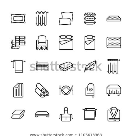 Comfortabel verdubbelen bed icon schets illustratie Stockfoto © pikepicture