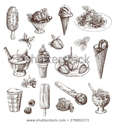 Vanília fagylalt golyók felszolgált üveg desszert Stock fotó © benzoix
