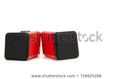Stock fotó: Kicsi · számítógép · hangfalak · izolált · fehér · technológia