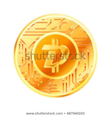 Bright golden coin with microchip pattern and Digibyte sign. Cryptocurrency concept on white Stock photo © evgeny89