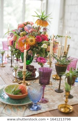 Yemek plaka çatal bıçak takımı çiçekler düğün Stok fotoğraf © Anneleven