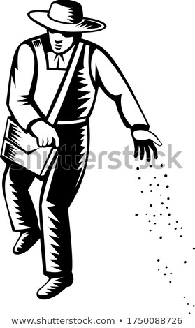 Organic Farmer Sowing Seeds Viewed from Front Retro Black and White Stock photo © patrimonio