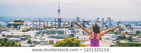 Városkép kilátás szalag égbolt torony Új-Zéland Stock fotó © Maridav
