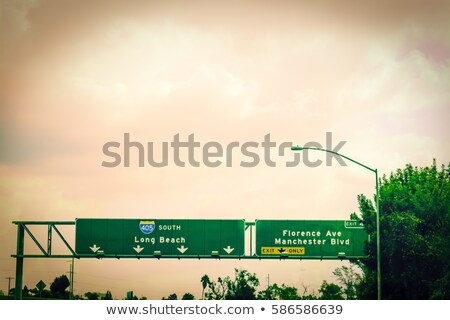Лонг-Бич Калифорния шоссе знак зеленый США облаке Сток-фото © kbuntu