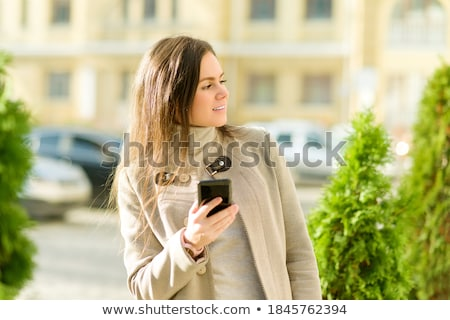 Portrait of a beautiful young businesswoman working  on the comp Stock photo © HASLOO