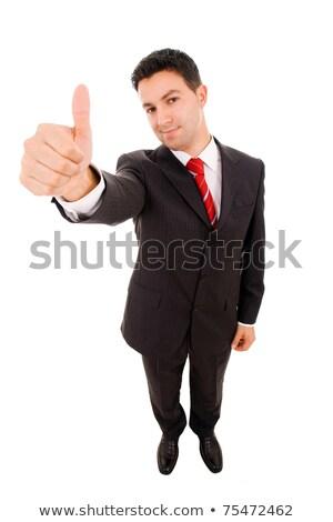 Foto stock: Primer · plano · jóvenes · sonriendo · hombre · de · negocios · pie · grande