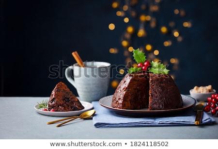 Rebanada pastel de frutas blanco placa torta desayuno Foto stock © gladcov