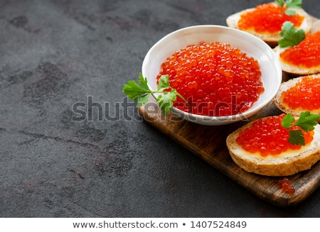szendvics · lazac · ikra · uborka · petrezselyem · izolált - stock fotó © ozaiachin