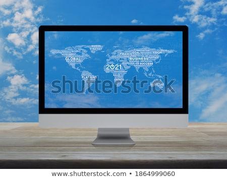 nagy · díszkivilágítás · áll · kék · ég · égbolt - stock fotó © pinkblue
