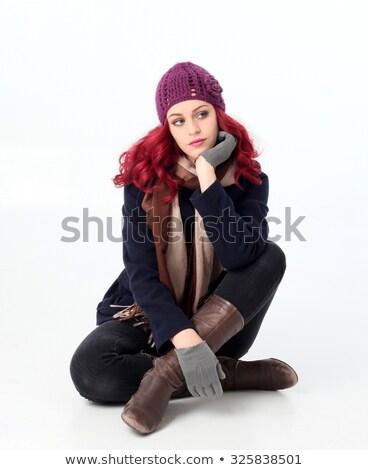 довольно женщины модель сидят леггинсы Сток-фото © get4net