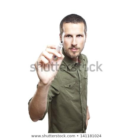 jonge · man · schrijven · glas · portret · knap - stockfoto © leedsn