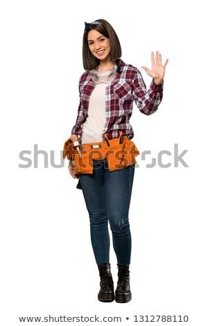 Teljes alakos portré női segédmunkás üzlet mosoly Stock fotó © photography33