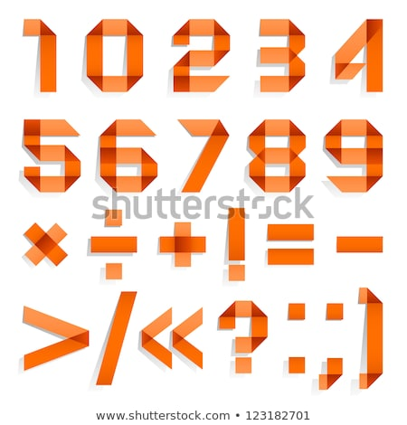 Stock photo: Font folded from colored paper - Arabic numerals, red