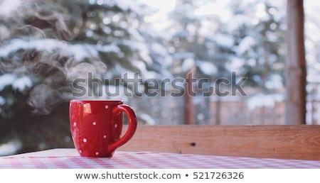 Foto stock: Jardim · neve · café · cerveja · tabela · cadeira