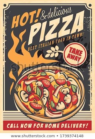 ヴィンテージ ピザ レストラン にログイン スタイル ピザ屋 ストックフォト © squarelogo
