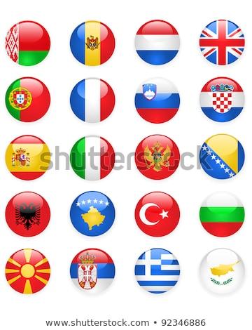 Botão Kosovo mapa azul estrela país Foto stock © Ustofre9