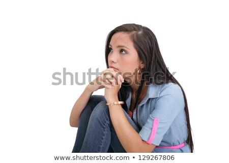Foto stock: Retrato · triste · bastante · menina · piso