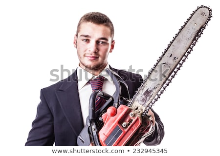 Crazy businessman with a chainsaw Stock photo © Rugdal